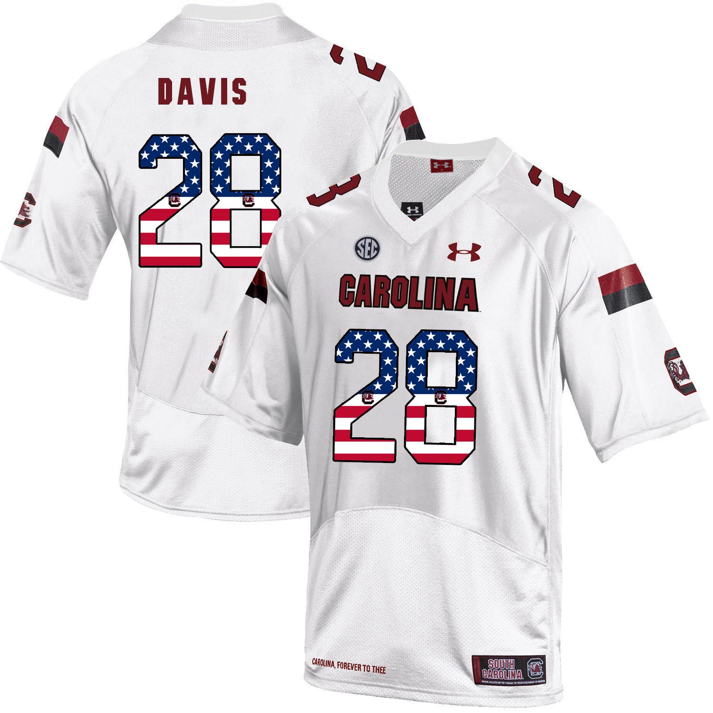 South Carolina Gamecocks 28 Mike Davis White USA Flag College Football Jersey