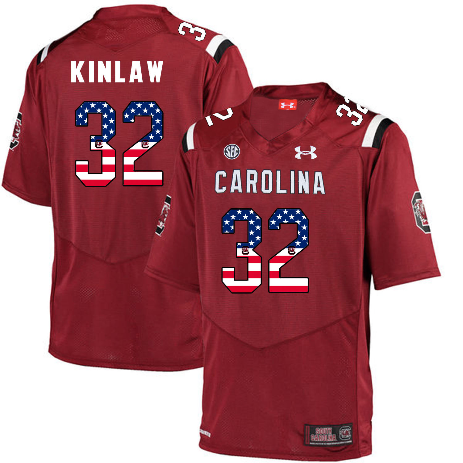 South Carolina Gamecocks 32 Caleb Kinlaw Red USA Flag College Football Jersey