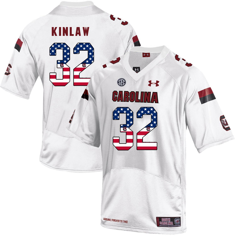 South Carolina Gamecocks 32 Caleb Kinlaw White USA Flag College Football Jersey
