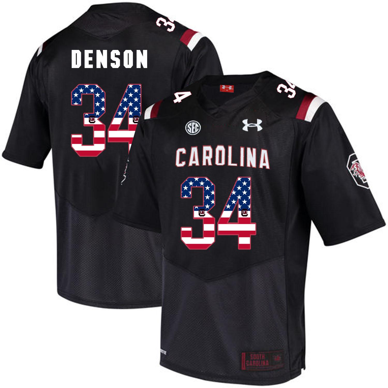 South Carolina Gamecocks 34 Mon Denson Black USA Flag College Football Jersey