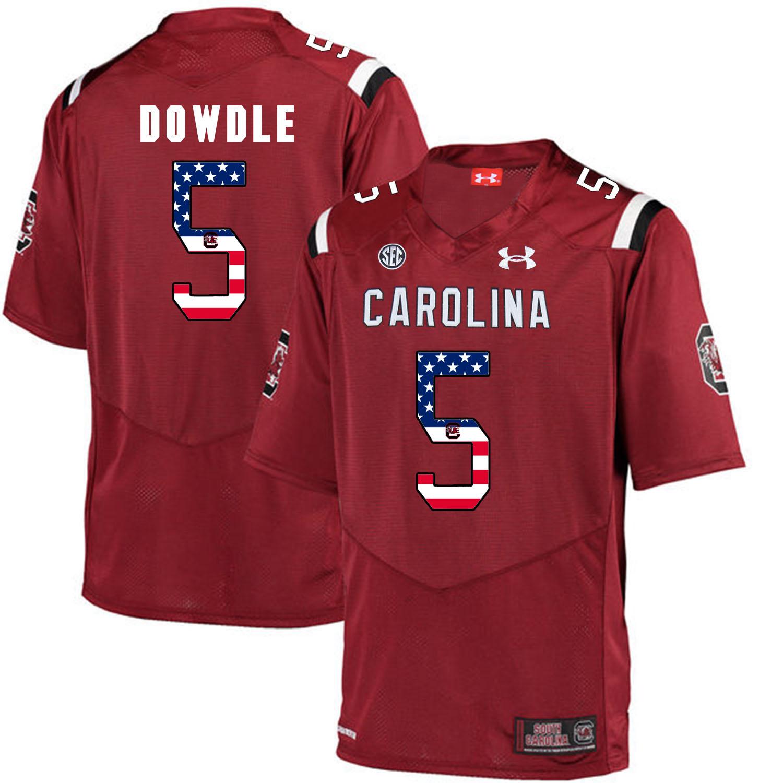 South Carolina Gamecocks 5 Rico Dowdle Red USA Flag College Football Jersey
