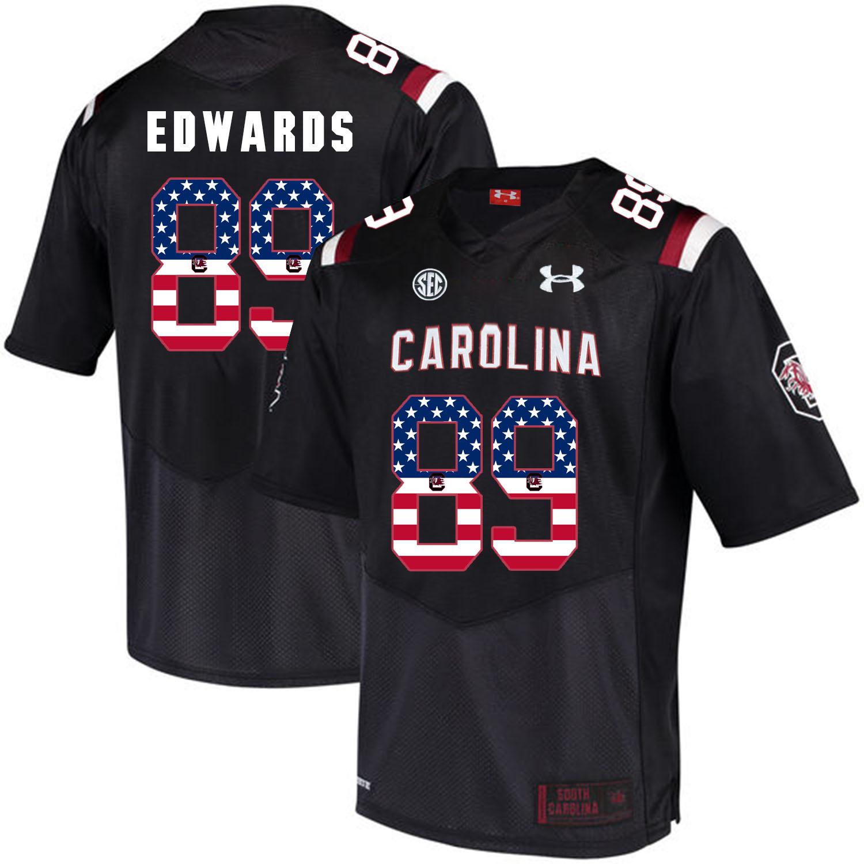 South Carolina Gamecocks 89 Bryan Edwards Black USA Flag College Football Jersey