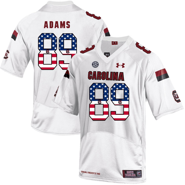 South Carolina Gamecocks 89 Jerell Adams White USA Flag College Football Jersey