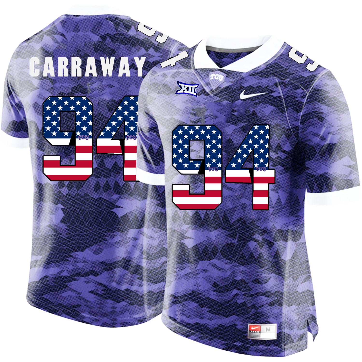 TCU Horned Frogs 94 Josh Carraway Purple USA Flag College Football Jersey