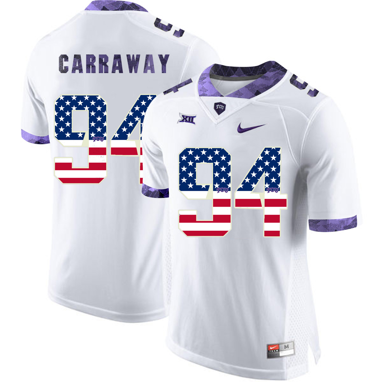 TCU Horned Frogs 94 Josh Carraway White USA Flag College Football Jersey