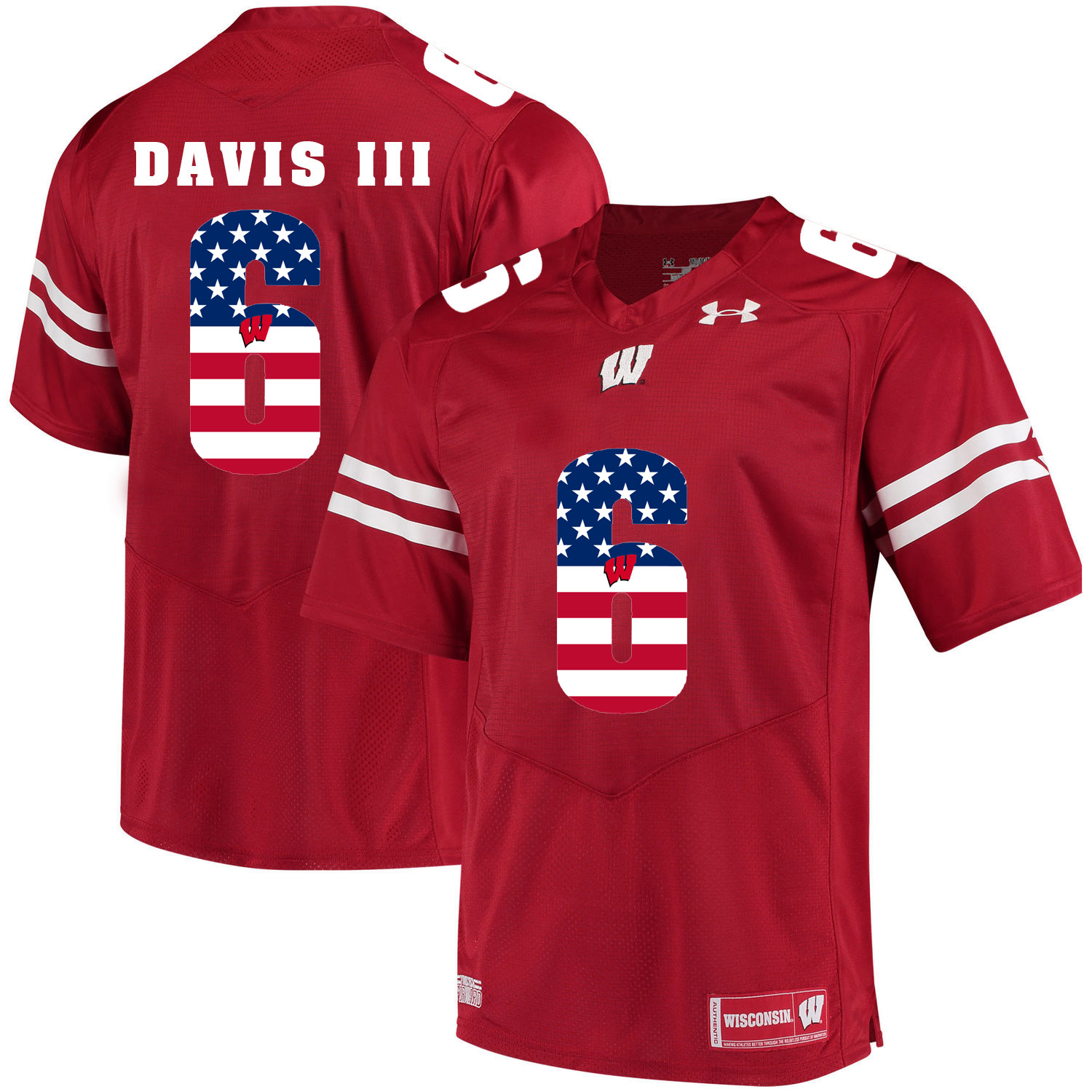 Wisconsin Badgers 6 Danny Davis III Red USA Flag College Football Jersey