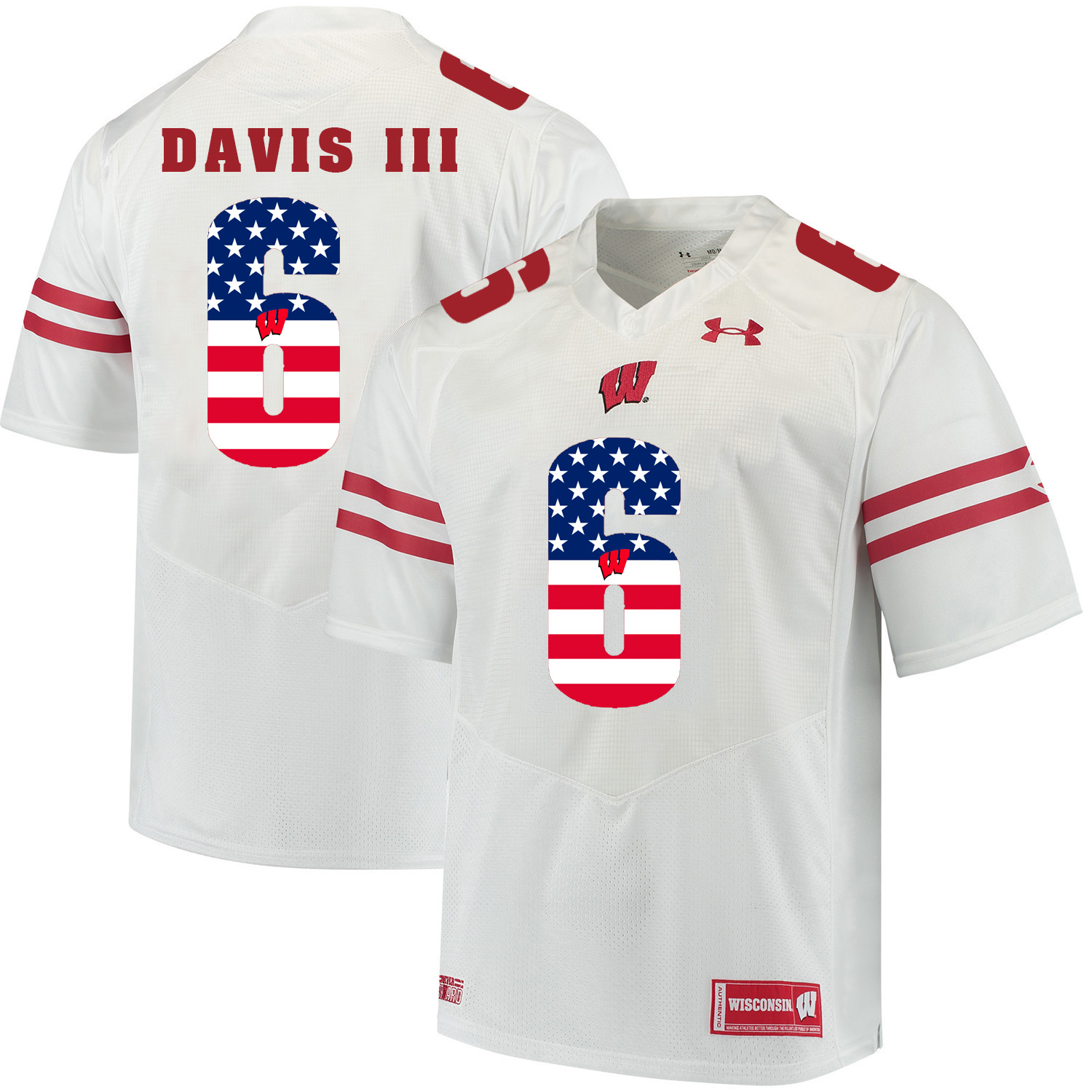 Wisconsin Badgers 6 Danny Davis III White USA Flag College Football Jersey