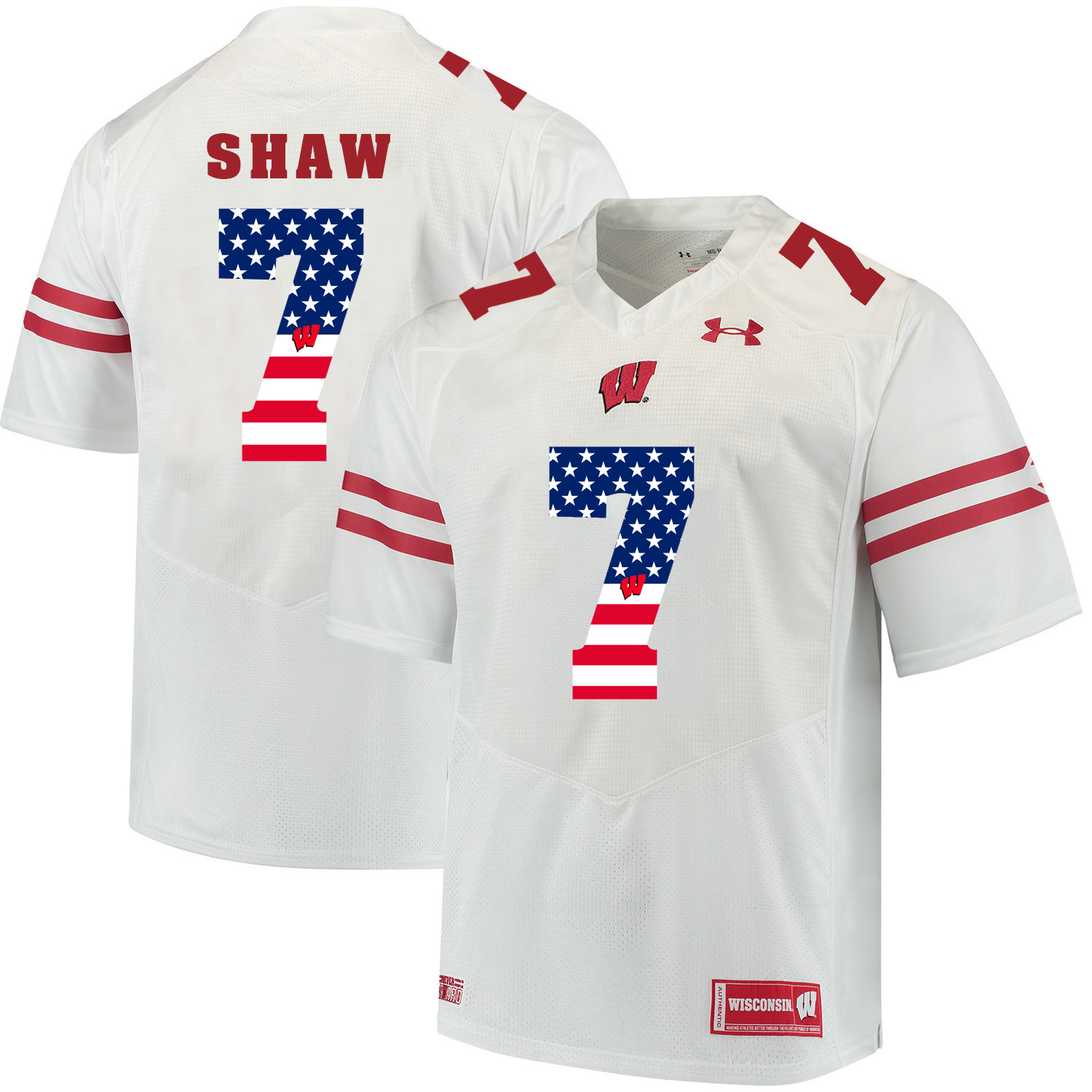Wisconsin Badgers 7 Bradrick Shaw White USA Flag College Football Jersey