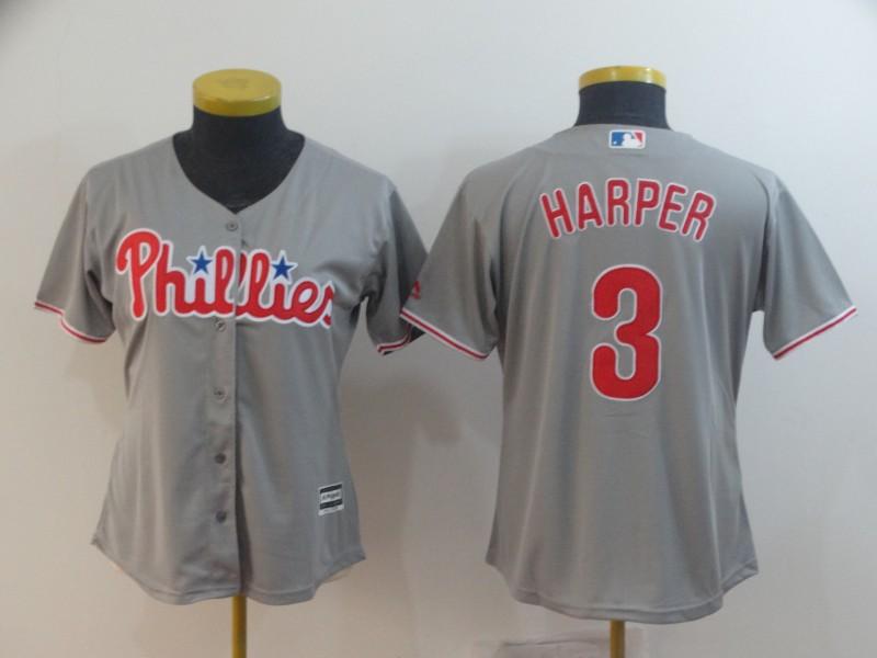 Phillies 3 Bryce Harper Gray Women Cool Base Jersey