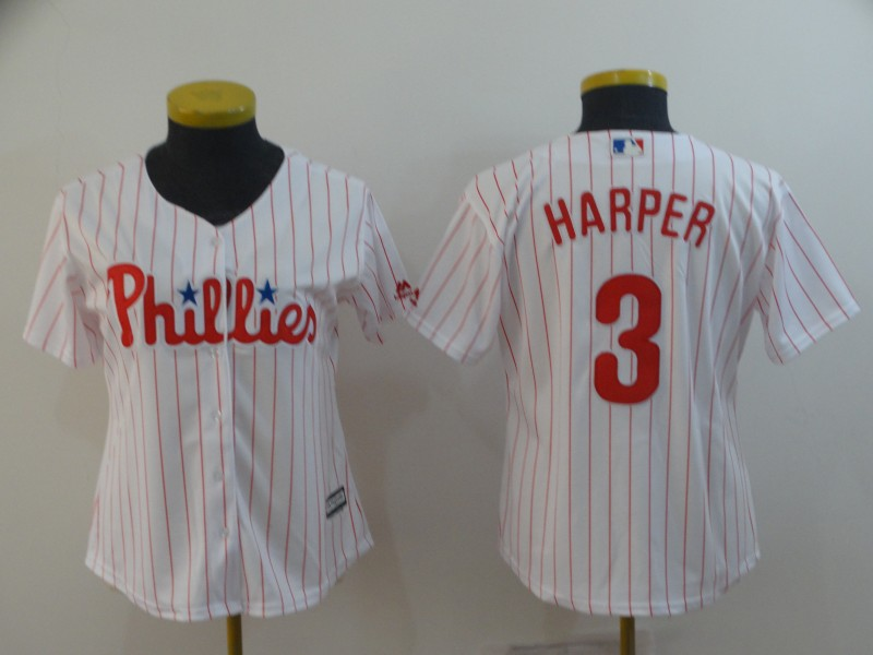 Phillies 3 Bryce Harper White Women Cool Base Jersey