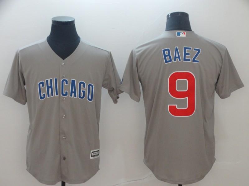 Cubs 9 Javier Baez Gray Cool Base Jersey