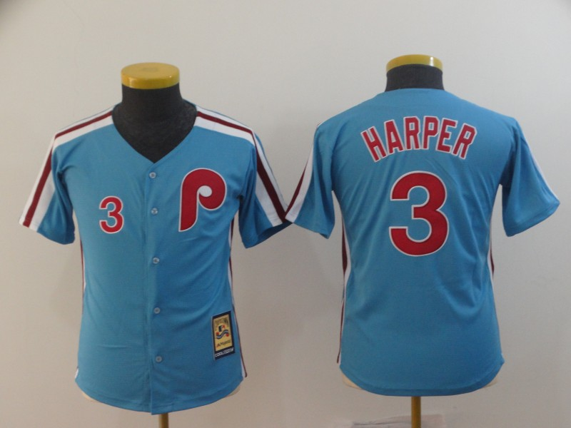 Phillies 3 Bryce Harper Light Blue Youth Cool Base Cooperstown Jersey