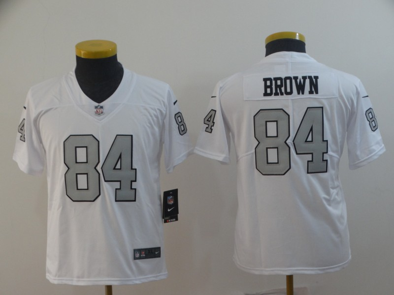 Raiders 84 Antonio Brown White Youth Color Rush Limited Jersey