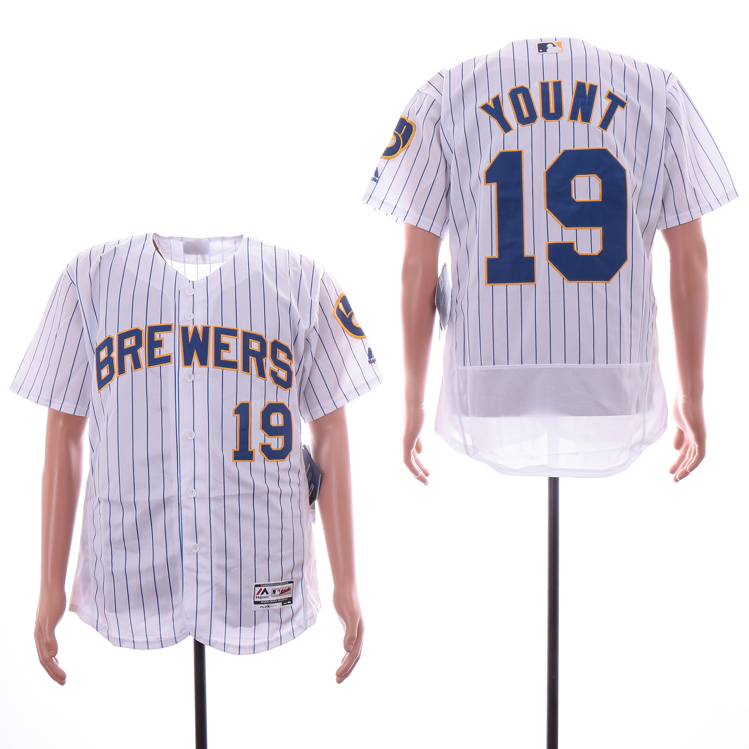Brewers 19 Robin Yount White Flexbase Jersey