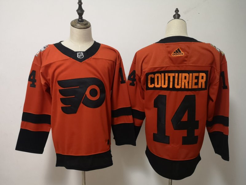 Flyers 14 Sean Coutureir Orange 2019 NHL Stadium Series Adidas Jersey