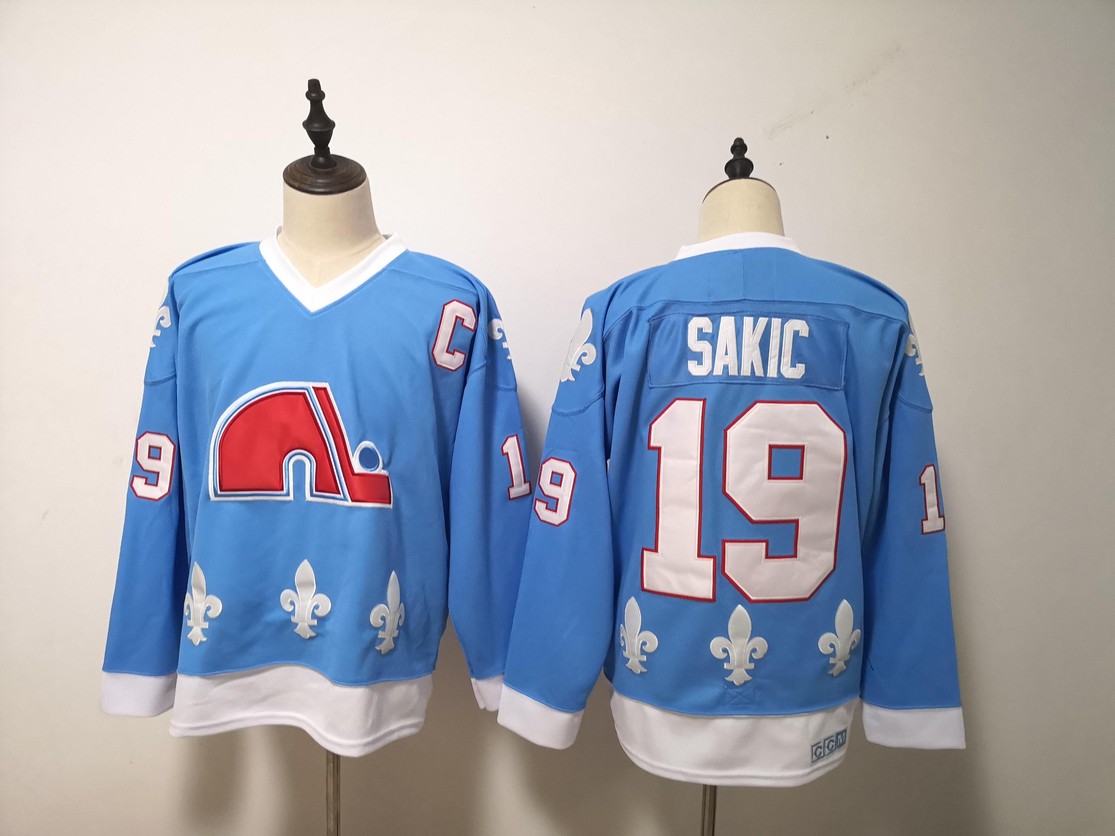 Nordiques 19 Joe Sakic Blue CCM Jersey