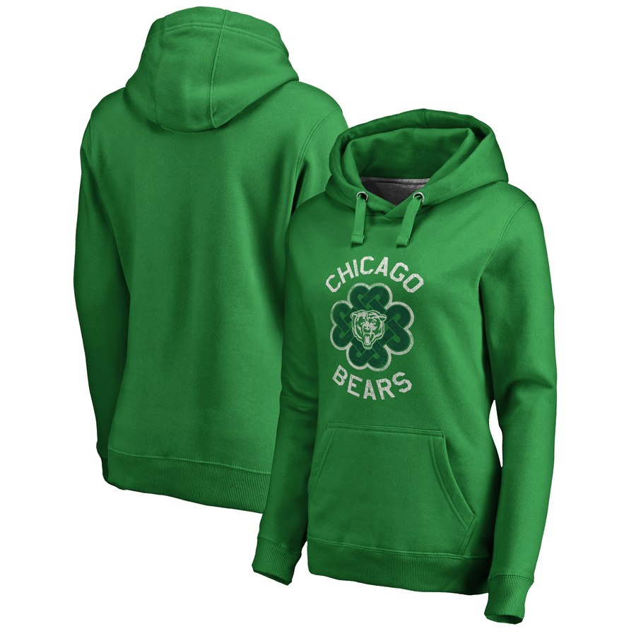 Chicago Bears NFL Pro Line by Fanatics Branded Women's St. Patrick's Day Luck Tradition Pullover Hoodie Kelly Green