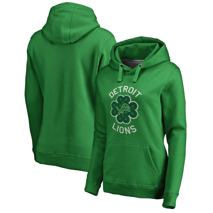 Detroit Lions NFL Pro Line by Fanatics Branded Women's St. Patrick's Day Luck Tradition Pullover Hoodie Kelly Green