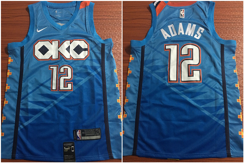 Thunder 12 Steven Adams Blue City Edition Nike Swingman Jersey