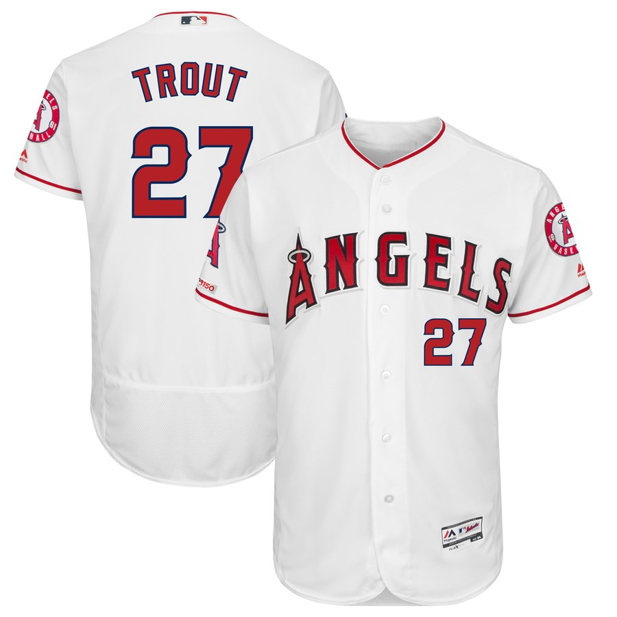 Angels 27 Mike Trout White 150th Patch Flexbase Jersey