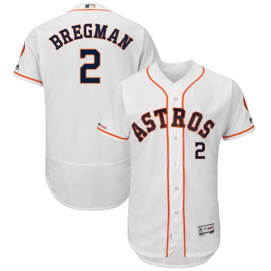 Astros 2 Alex Bregman White 150th Patch Flexbase Jersey
