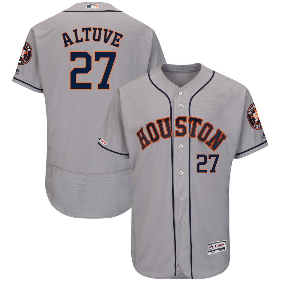 Astros 27 Jose Altuve Gray 150th Patch Flexbase Jersey