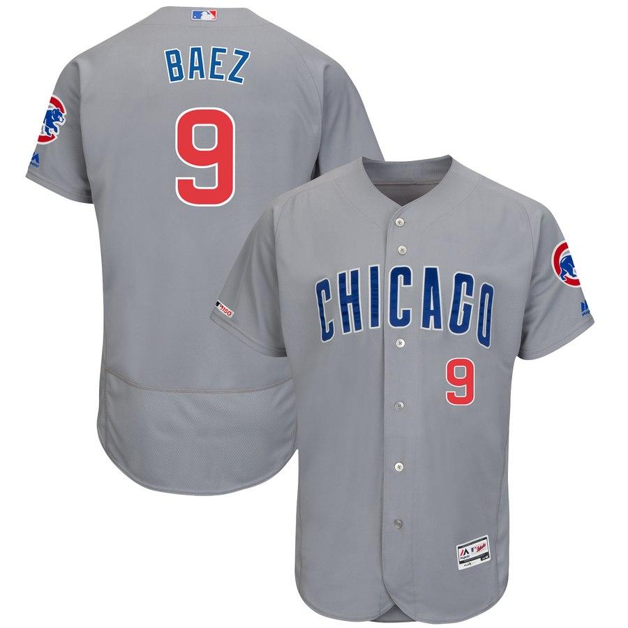 Cubs 9 Javier Baez Gray 150th Patch Flexbase Jersey