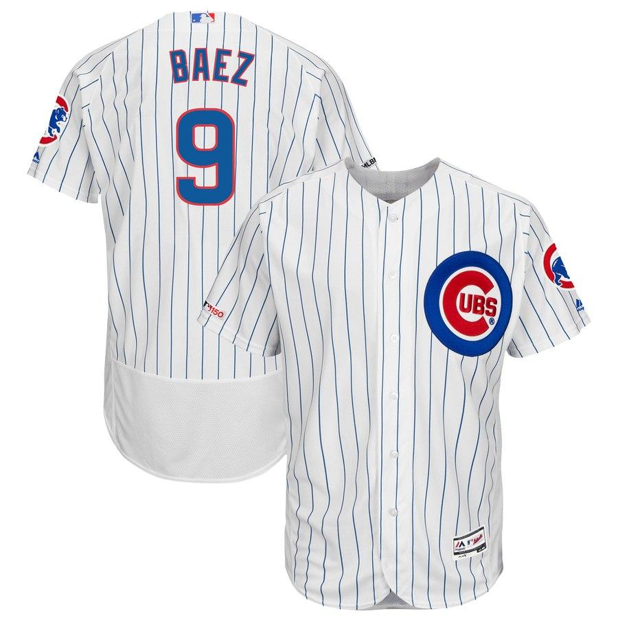 Cubs 9 Javier Baez White 150th Patch Flexbase Jersey