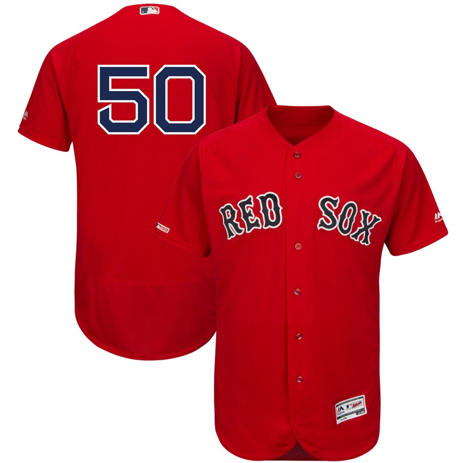 Red Sox 50 Mookie Betts Scarlet 150th Patch FlexBase Jersey
