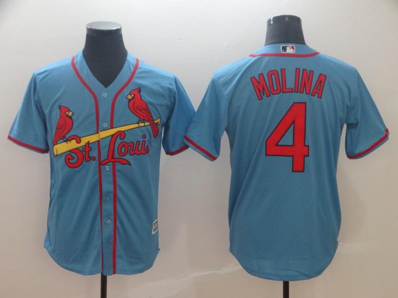 Cardinals 4 Yadier Molina Light Blue Cool Base Jersey