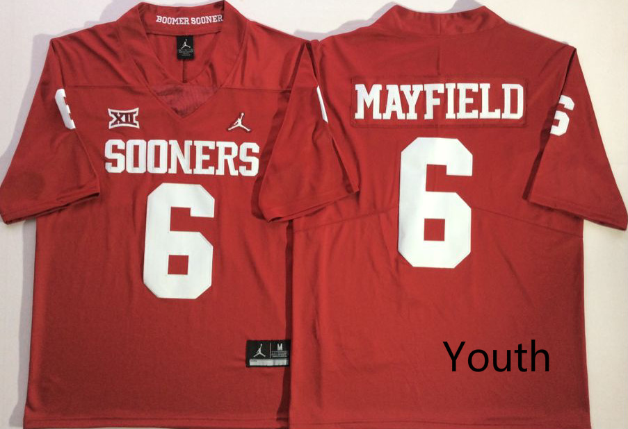 Oklahoma Sooners 6 Baker Mayfield Red Youth College Football Jersey