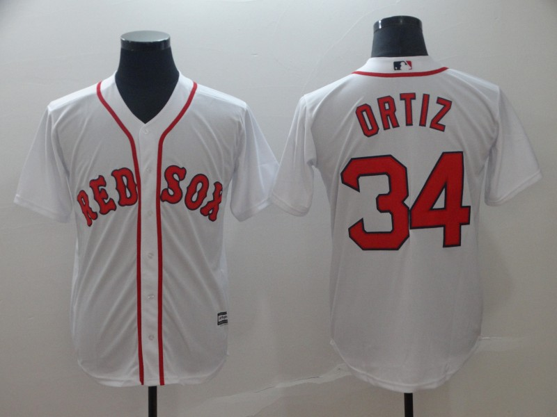Red Sox 34 David Ortiz White Cool Base Jersey