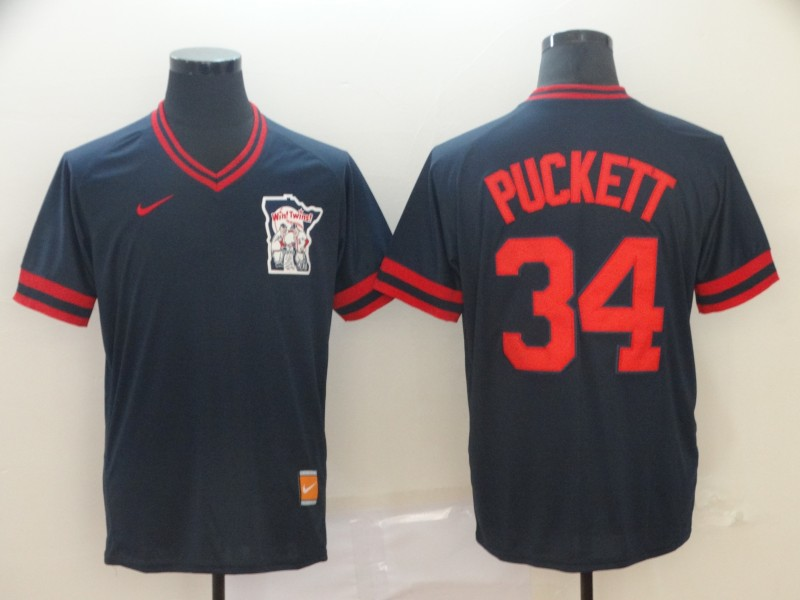 Twins 34 Kirby Puckett Navy Throwback Jersey