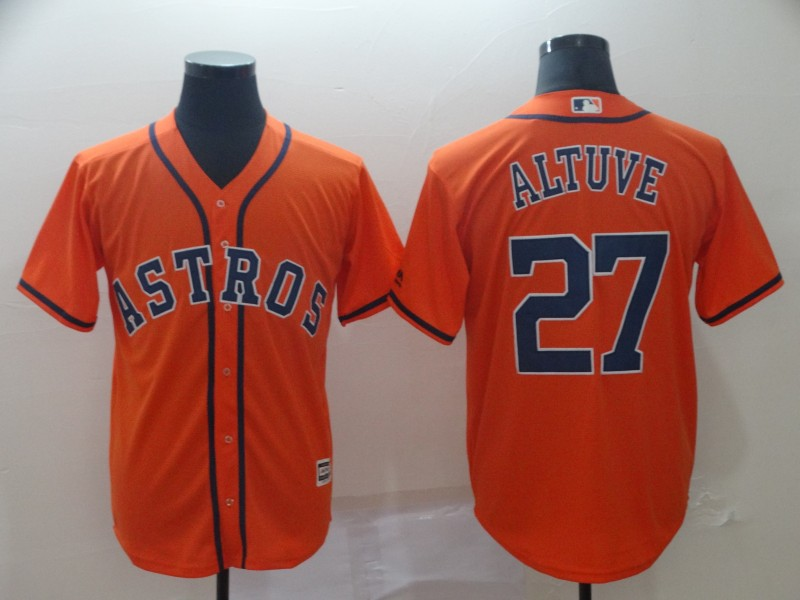 Astros 27 Jose Altuve Orange Cool Base Jersey