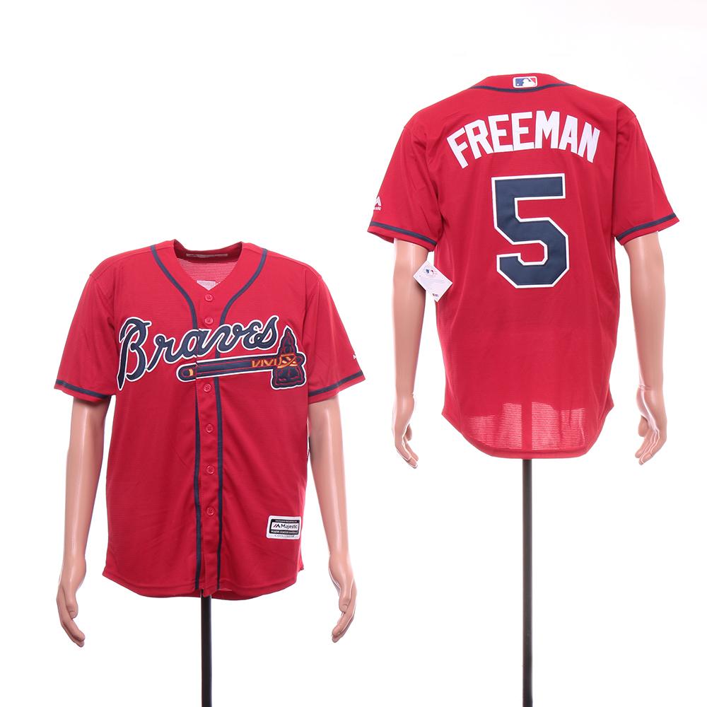Braves 5 Freddie Freeman Red Cool Base Jersey