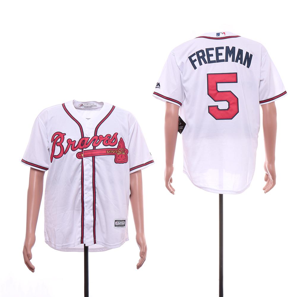 Braves 5 Freddie Freeman White Cool Base Jersey