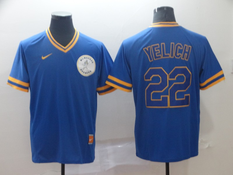 Brewers 22 Christian Yelich Royal Throwback Jersey