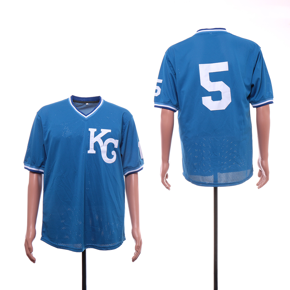 Royals 5 George Brett Light Blue Mesh BP Jersey