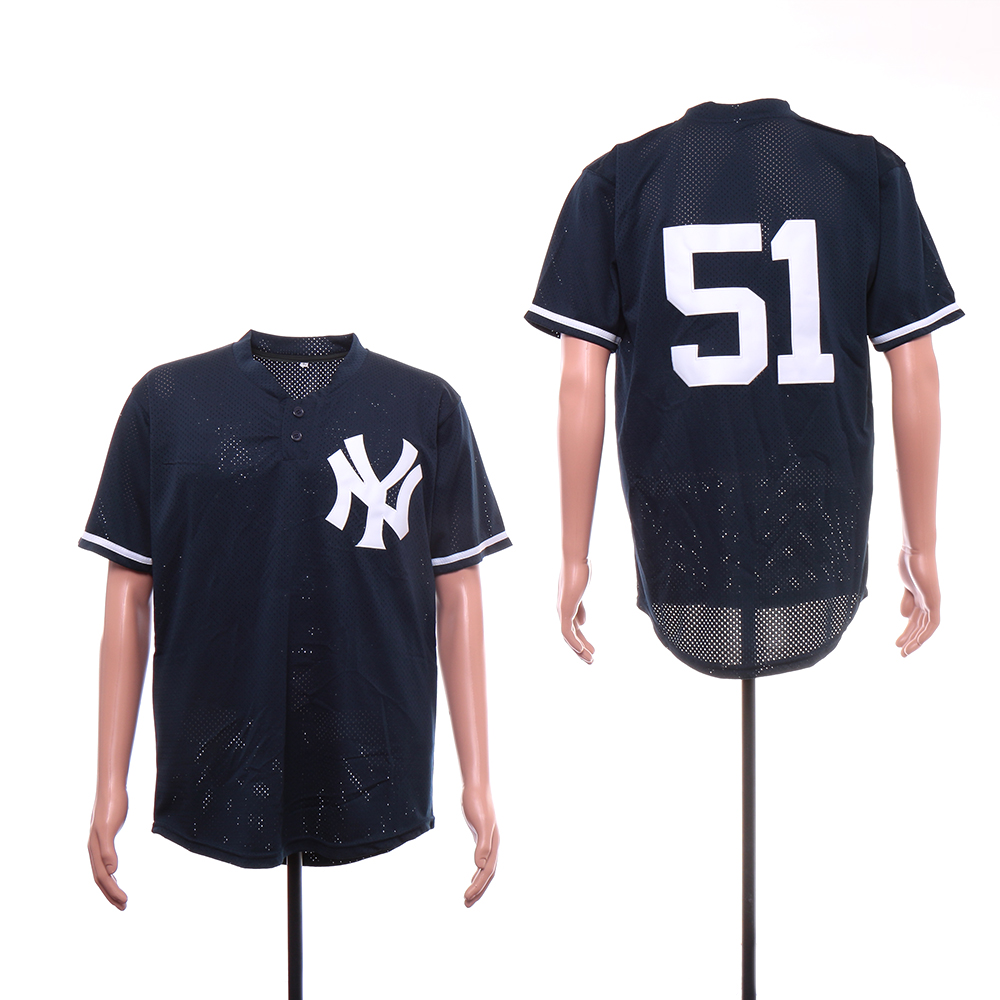 Yankees 51 Bernie Williams Navy Mesh BP Jersey