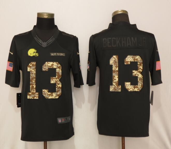 Nike Browns 13 Odell Beckham Jr Black Camo Salute to Service Limited Jersey