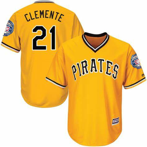 Pirates 21 Roberto Clemente Yellow 2019 Hall of Fame Induction Patch Throwback Jersey