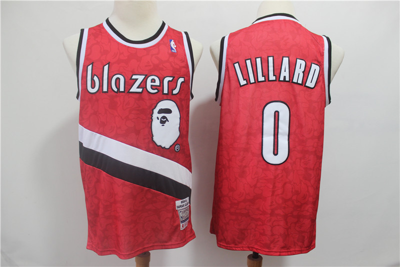 Blazers 0 Damian Lillard Red 2018-19 Hardwood Classics Jersey