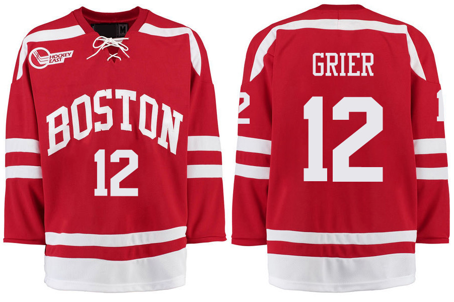 Boston University Terriers BU 12 Mike Grier Red Stitched Hockey Jersey