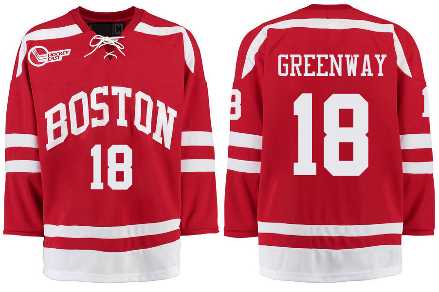 Boston University Terriers BU 18 Jordan Greenway Red Stitched Hockey Jersey