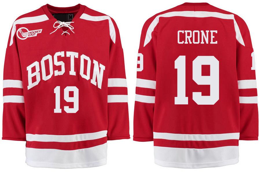 Boston University Terriers BU 19 Hank Crone Red Stitched Hockey Jersey