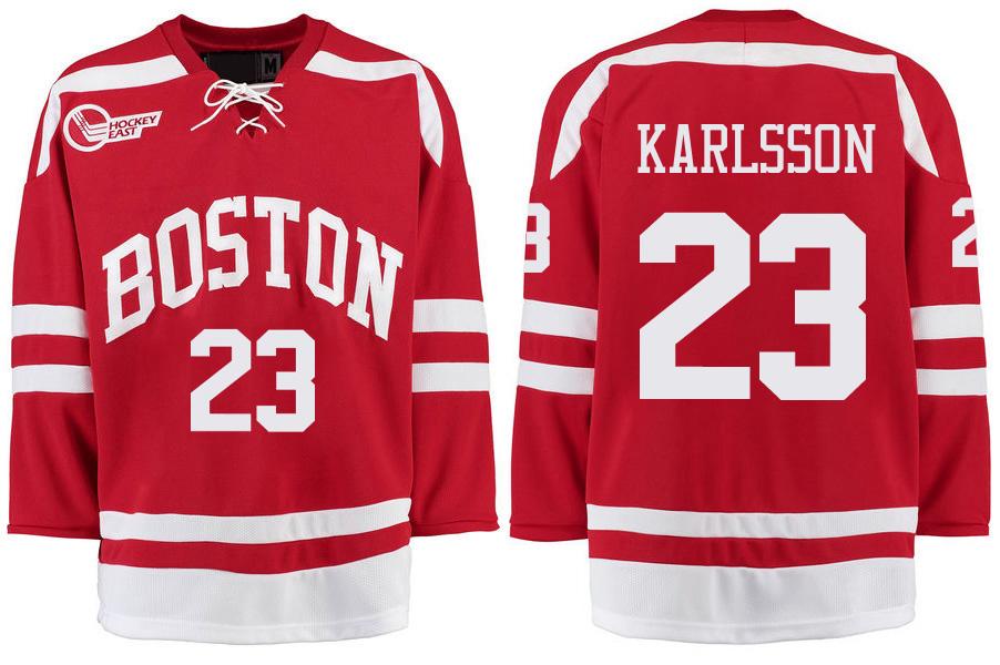 Boston University Terriers BU 23 Jakob Forsbacka Karlsson Red Stitched Hockey Jersey