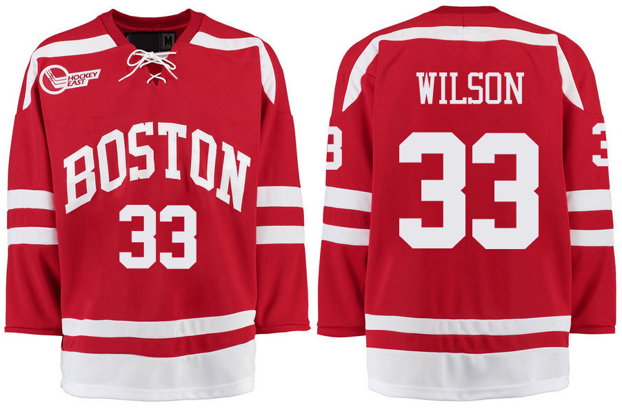 Boston University Terriers BU 33 Colin Wilson Red Stitched Hockey Jersey