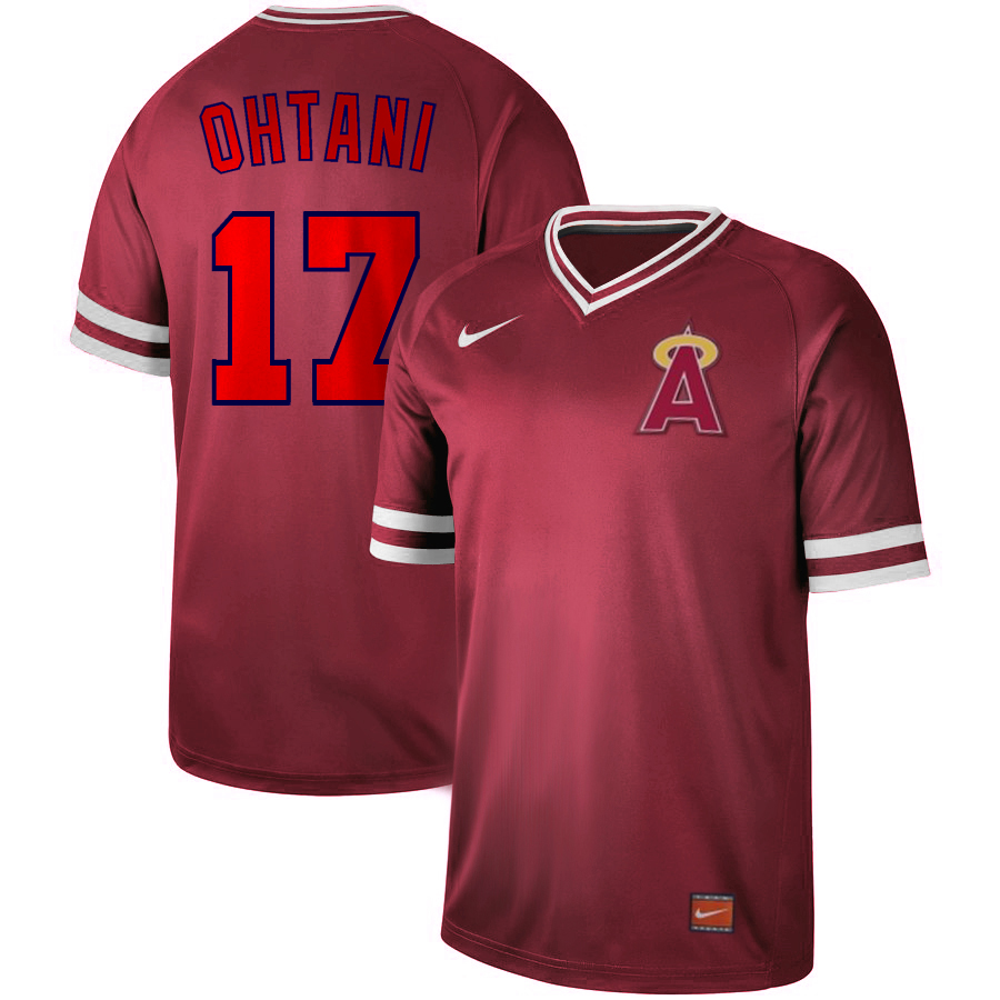 Angels 17 Shohei Ohtani Red Throwback Jersey