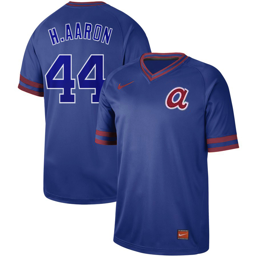 Braves 44 Hank Aaron Royal Throwback Jersey