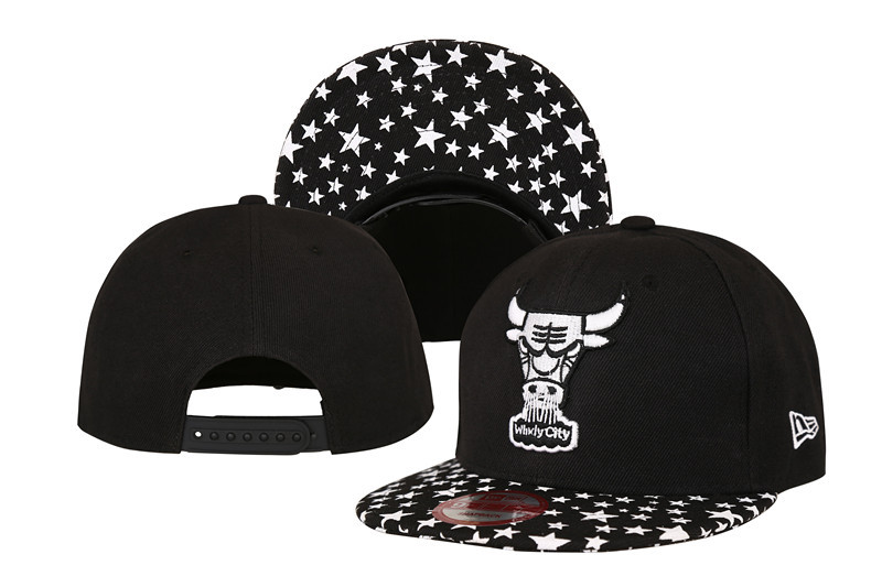 Bulls Team Logo Black With Star Adjustable Hat LT